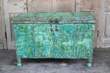 Vintage Dowry Chest with distressed green paint hues, Gujarat <b>SOLD<b>